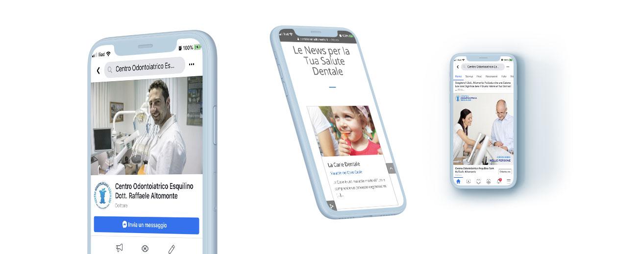 Fruibilità da telefonino assicurata per il sito web e la pagina facebook www.dentistaromaaltomonte.it