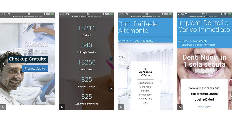 schermate di dispositivo mobile per iul dito web del dottor altomonte https://www.dentistaromaaltomonte.it/