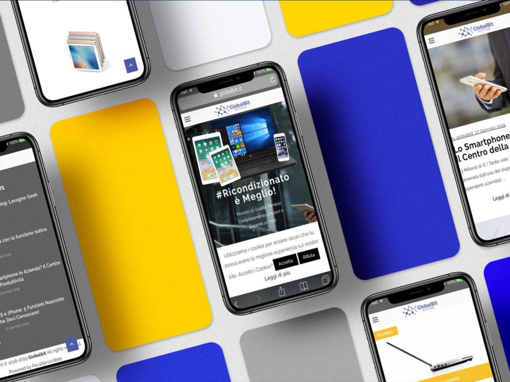 Schermate sito web mobile globalbit.it