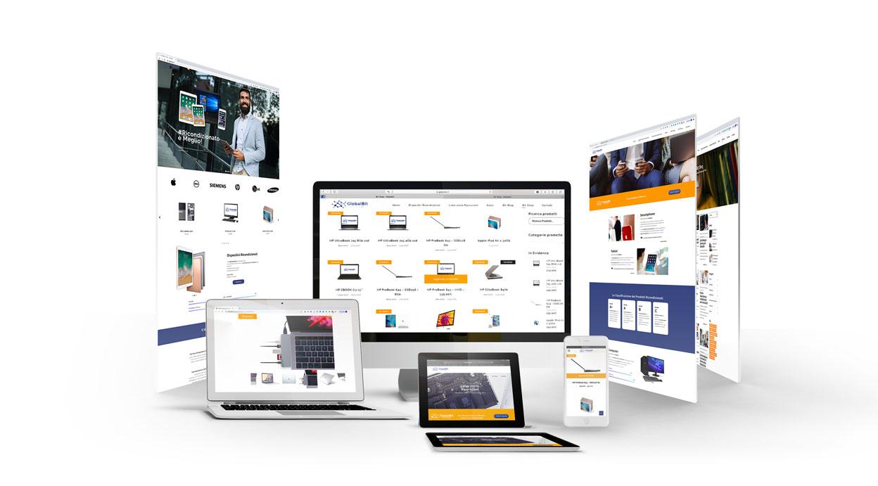 Raccolta di schermate sito web globalbit.it