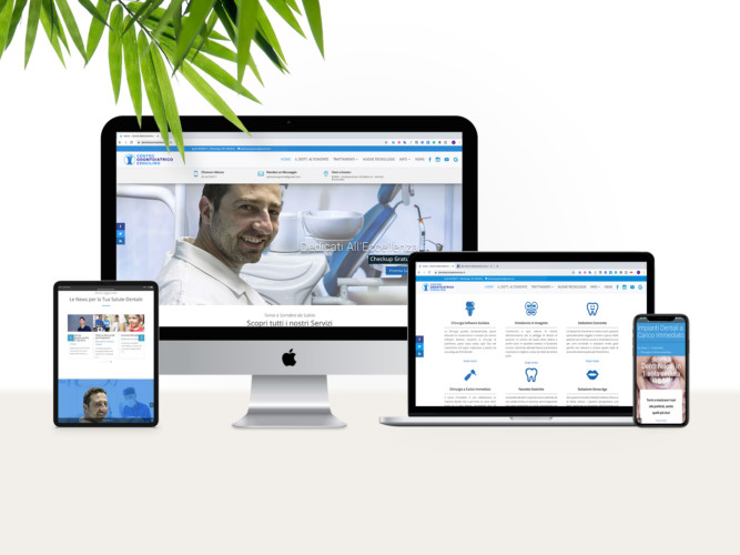 Set di strumenti elettronici che visualizzano diverse pagine del sito www.dentistaromaaltomonte.it in modalità responsiva